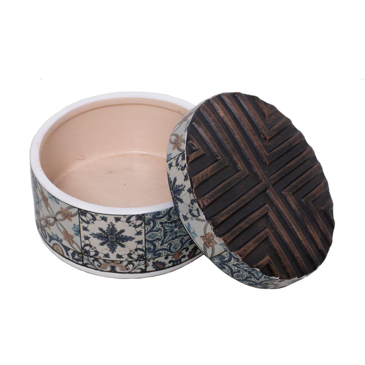 Potiche Decorativo Cerâmica Decorado 11x7cm