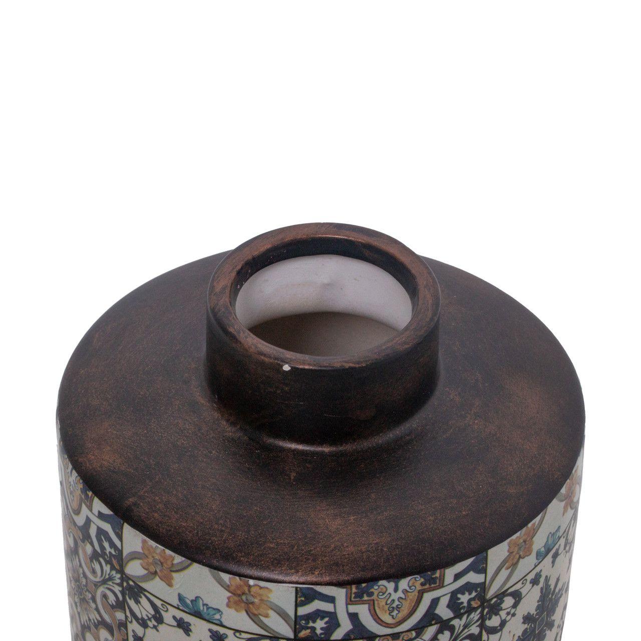 Potiche Decorativo Cerâmica Decorado 13x26cm