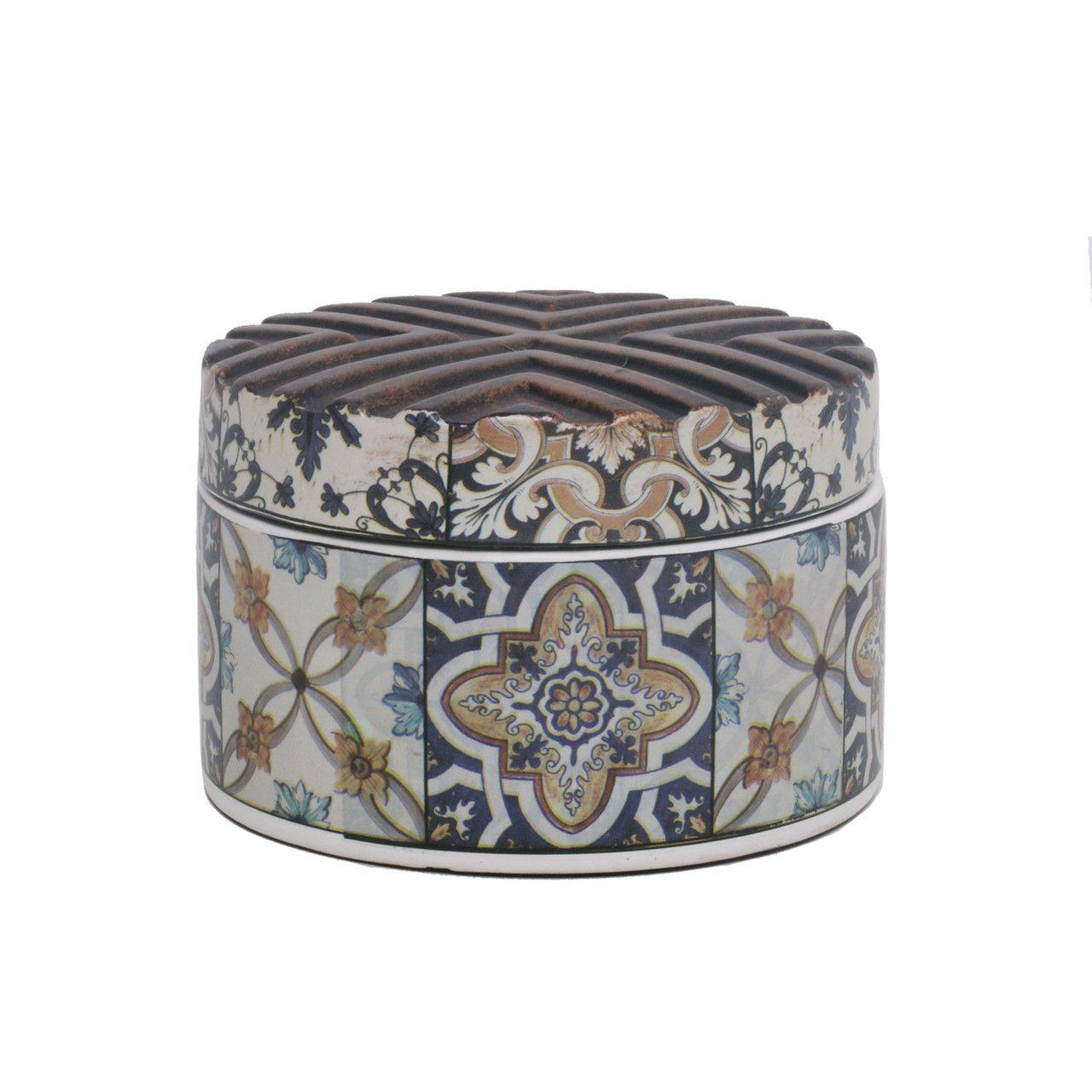 Potiche Decorativo Cerâmica Decorado 14x9cm