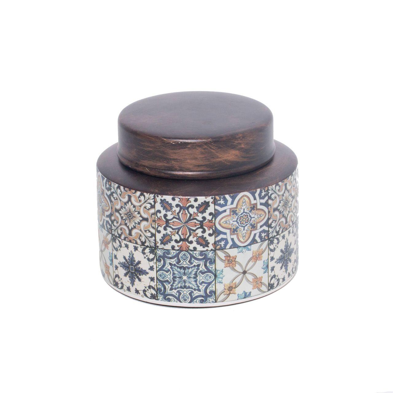 Potiche Decorativo Cerâmica Decorado 16x13cm
