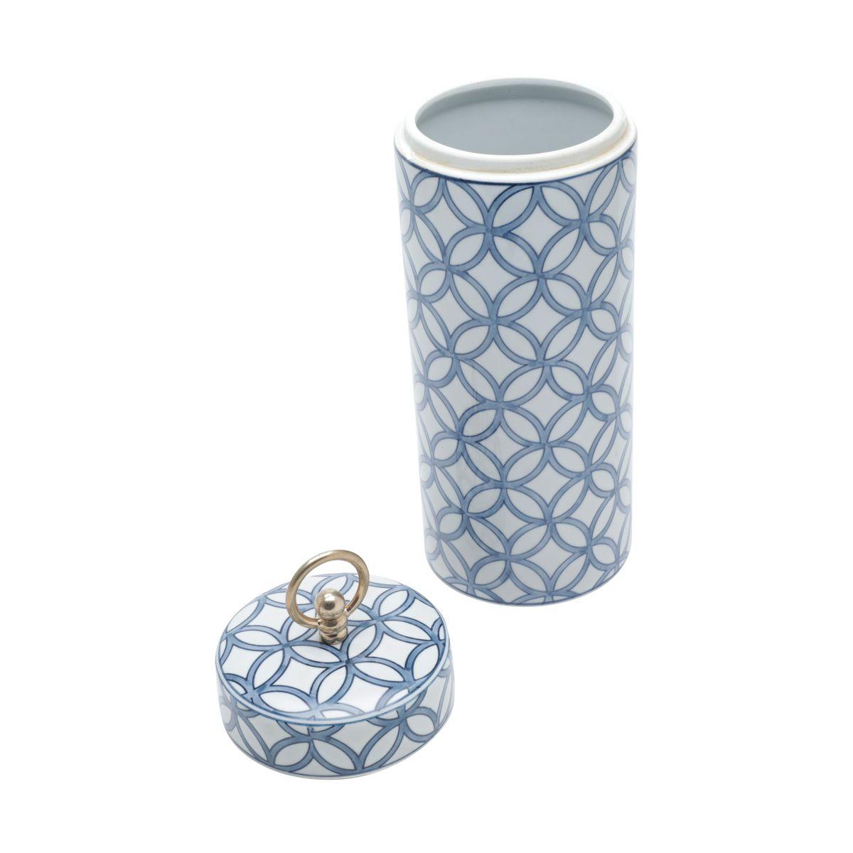 Potiche Decorativo Porcelana Branco/Azul 14x40cm