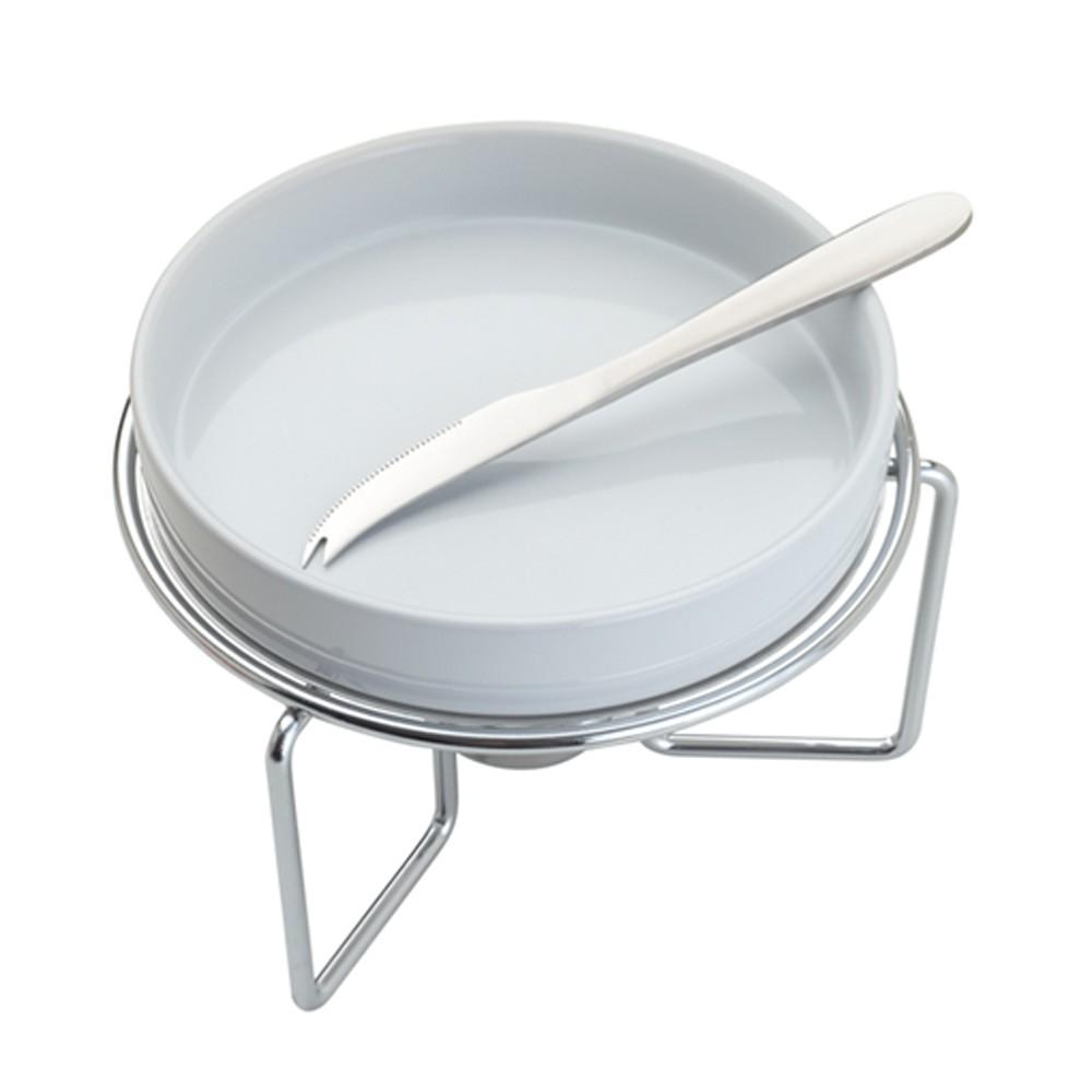 Rechaud de Porcelana para Queijo com Faca  de Aço Inox e Sup Niquelado