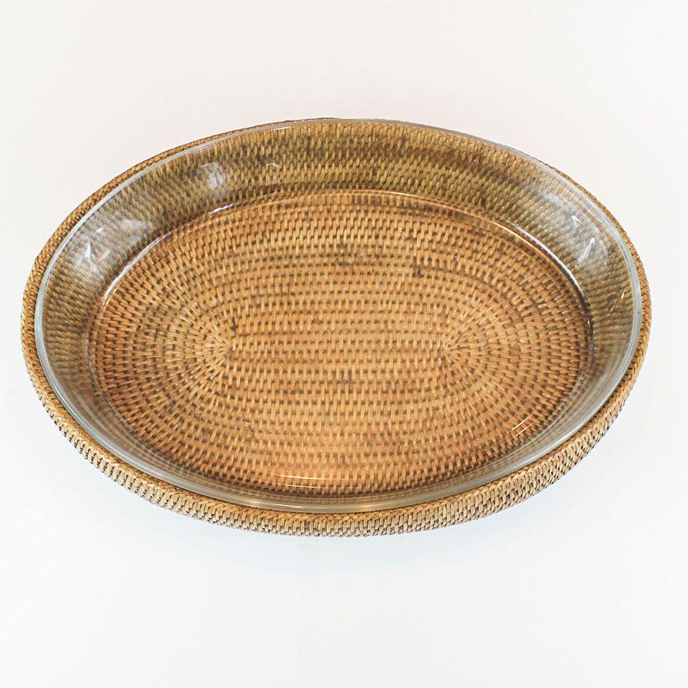 Refratário de Vidro Oval (32cm) com Suporte em Rattan MAYA