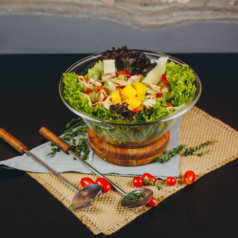 Saladeira com par de talheres em Inox e base em Madeira Teca (25cm)