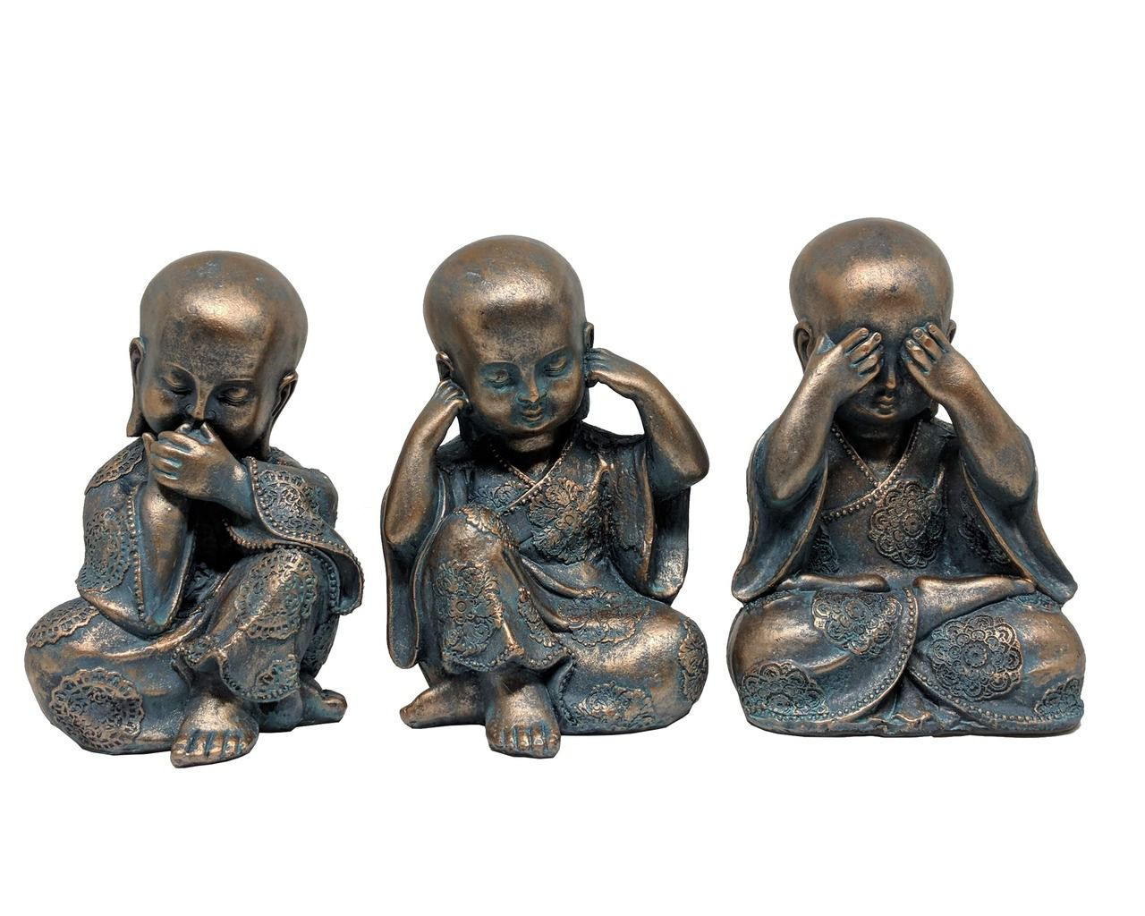 Estátua Decorativa Trio Buda 17cm - Nakine