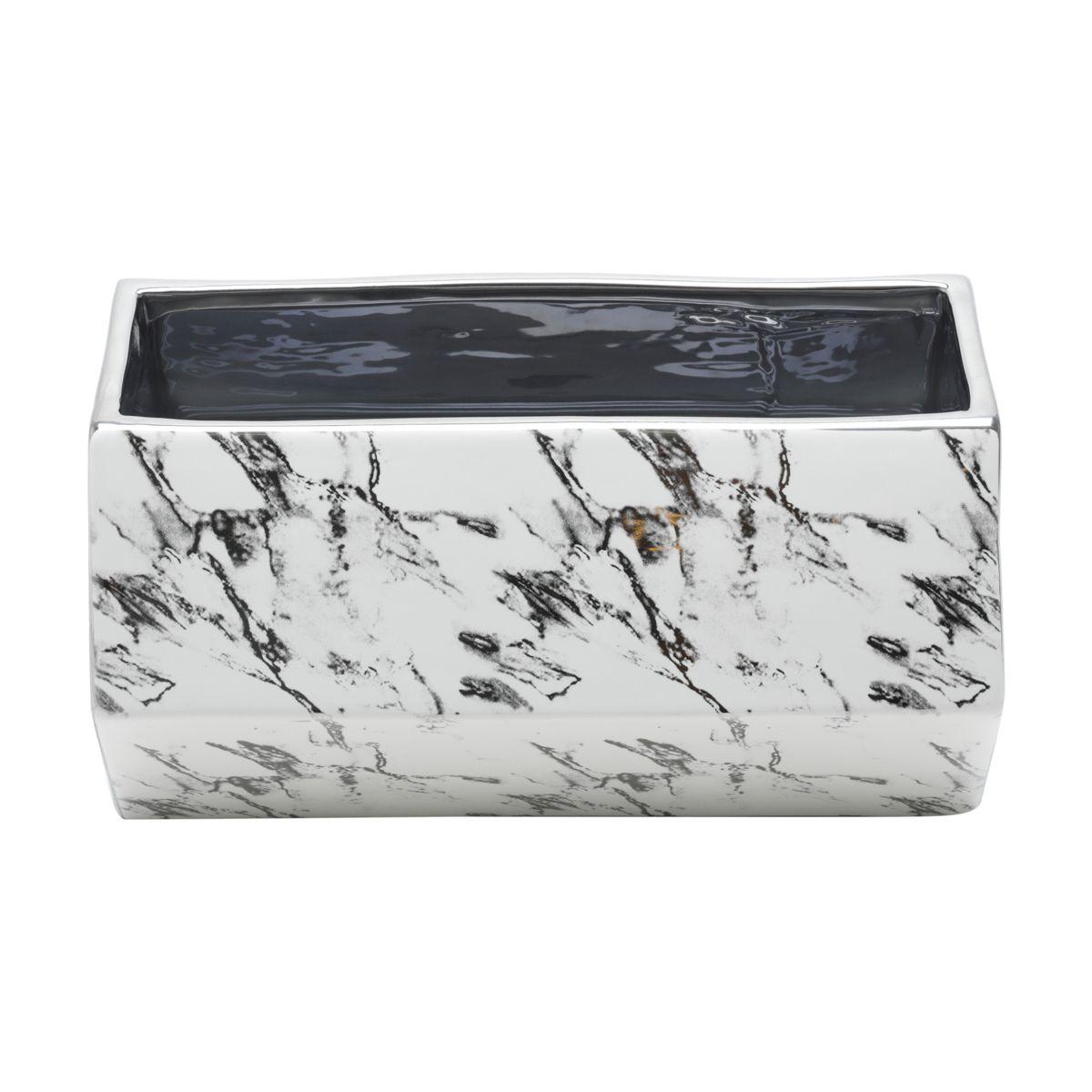 Vaso Branco Marble em Cerâmica 20x13x11cm
