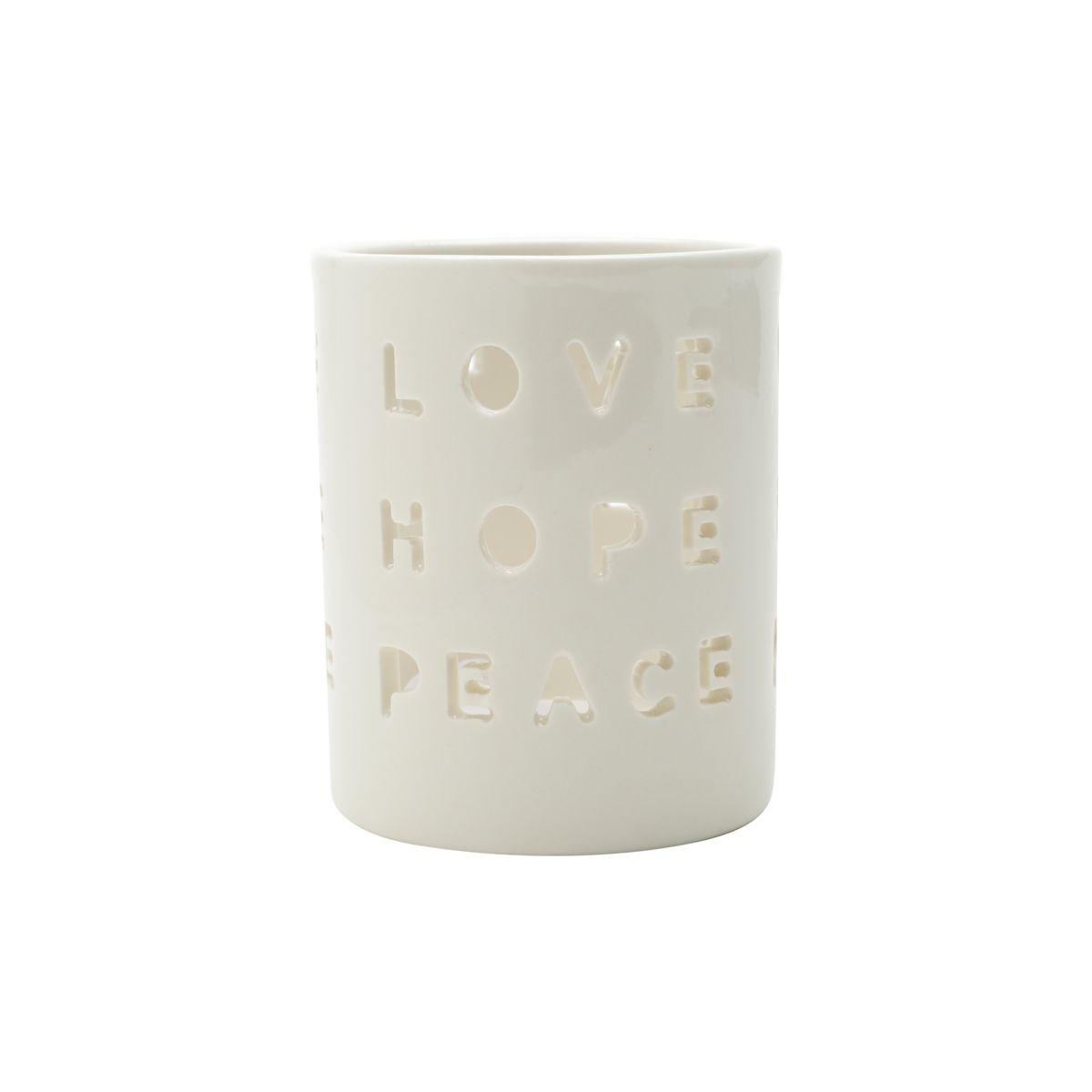 Castiçal Porcelana Love Hope Peace Branco 7,2x7,2x8,9 Cm
