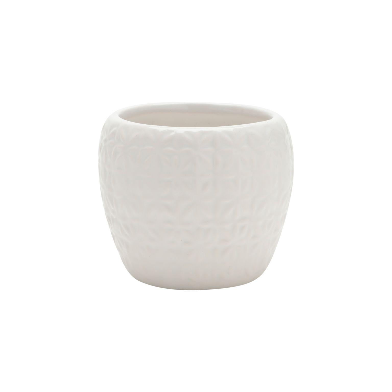 Vaso Cerâmica Classic Pattern Basics Branco 8X8X6,5cm