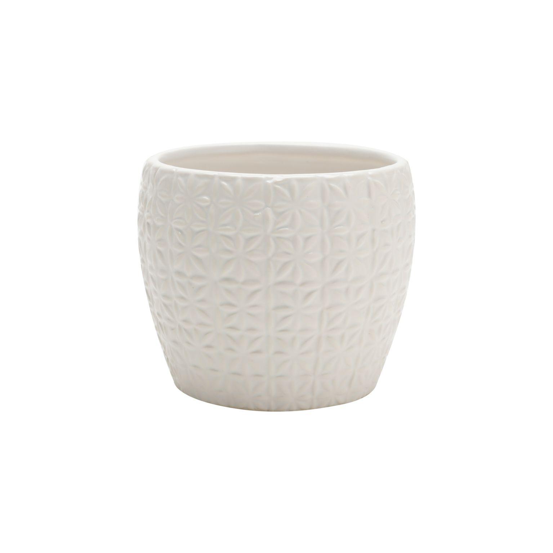 Vaso Cerâmica Classic Pattern Basics Branco 11,9X11,9X6,8cm