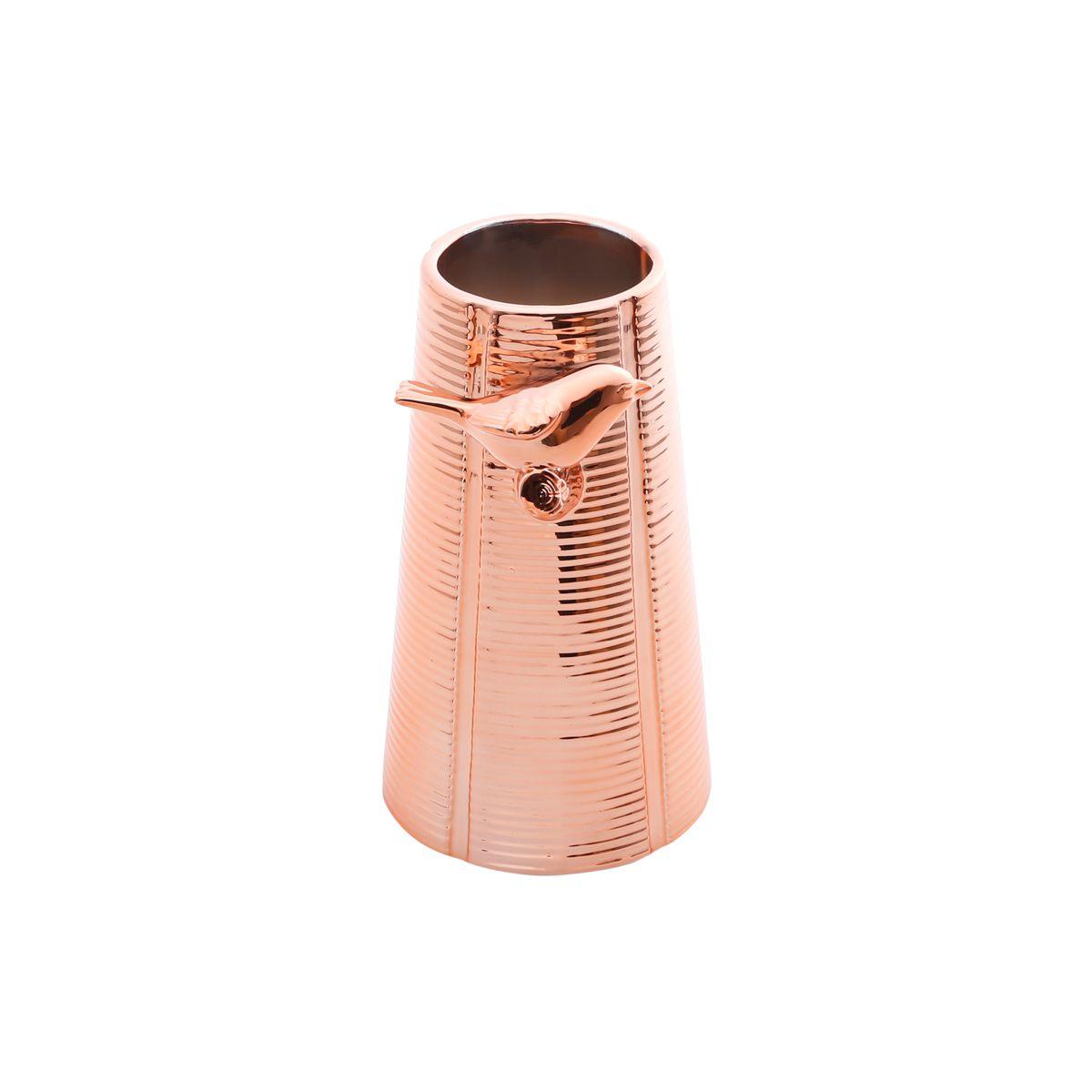 Vaso Cerâmica de Cobre Cromado Bird 9x15cm