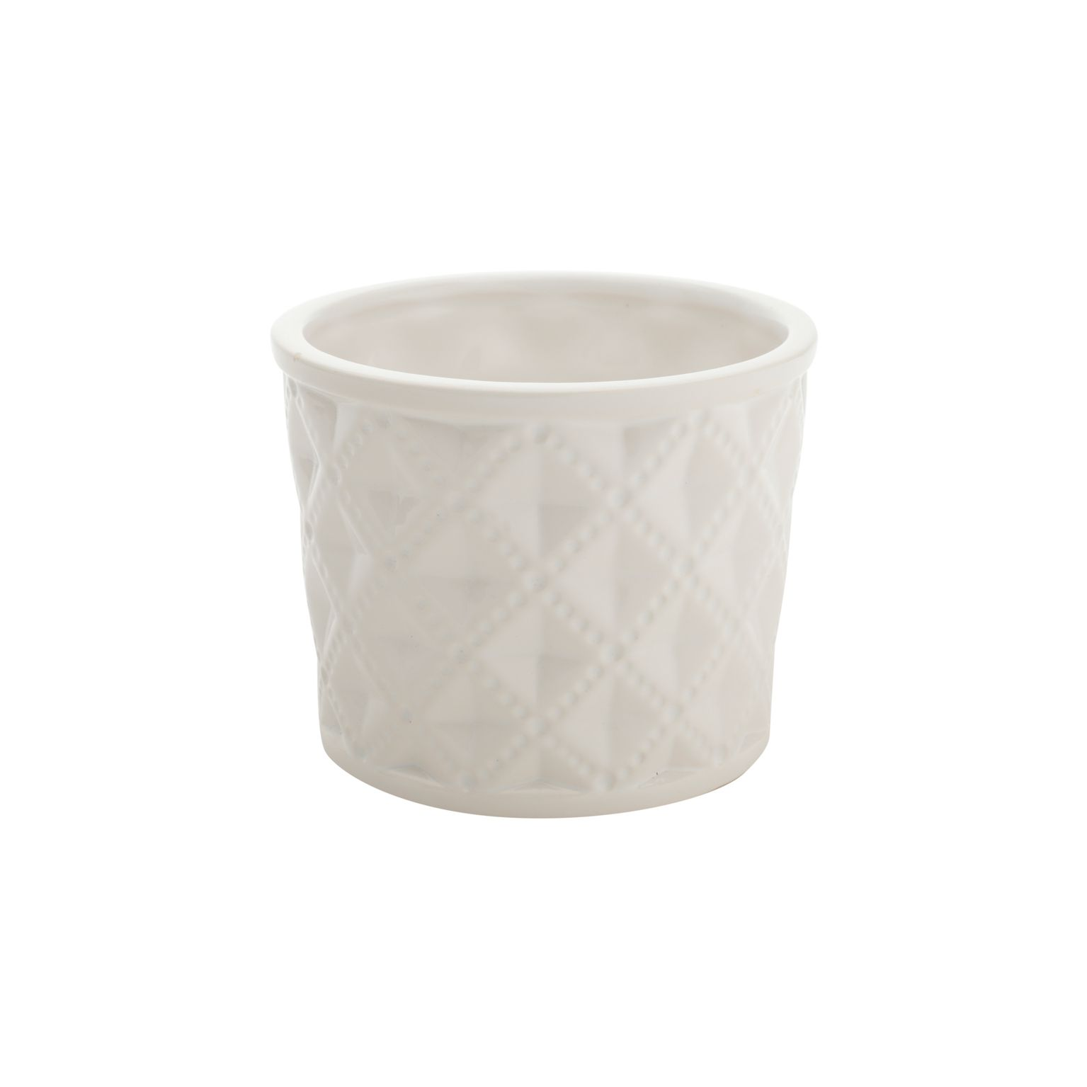 Vaso Ceramica Embossed Diamonds Long Branco