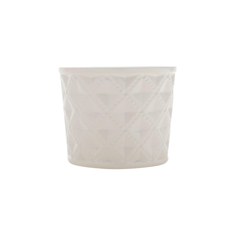 Vaso Ceramica Embossed Diamonds Long Branco
