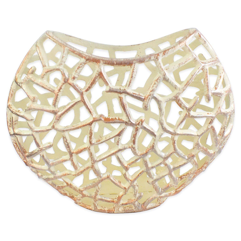 Vaso Decorativo Aluminio Prateado Vazado 26x30x10