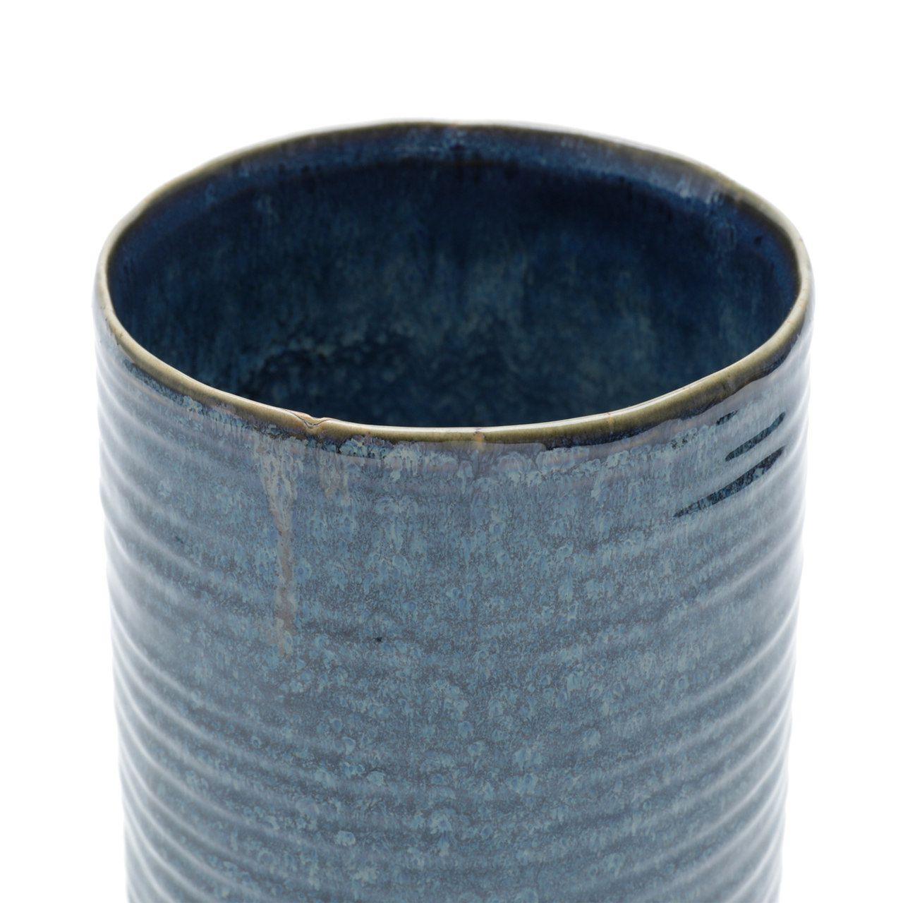 Vaso Decorativo Cerâmica Azul 14x29hcm