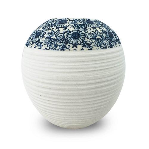 Vaso Decorativo em Cerâmica Branco Floral 17x21cm - Nakine