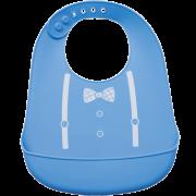 Babador de Silicone com Pega Migalhas Azul - Buba