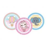 Kit com 3 Pratos Rasos (Balão, Gatinho e Elefante) - Clingo