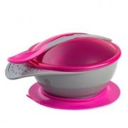 Prato com Ventosa e Colher Colors Rosa - Clingo