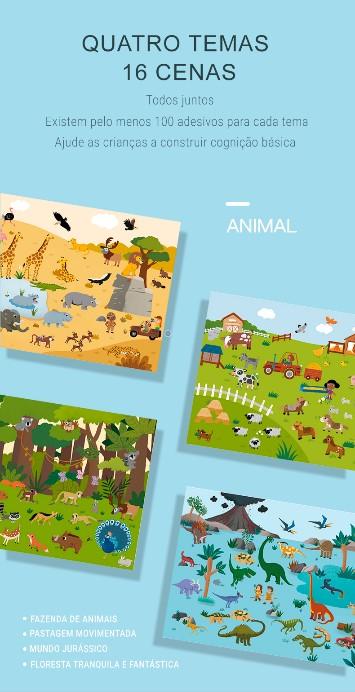 Adesivos Reutilizáveis Animais - Mideer