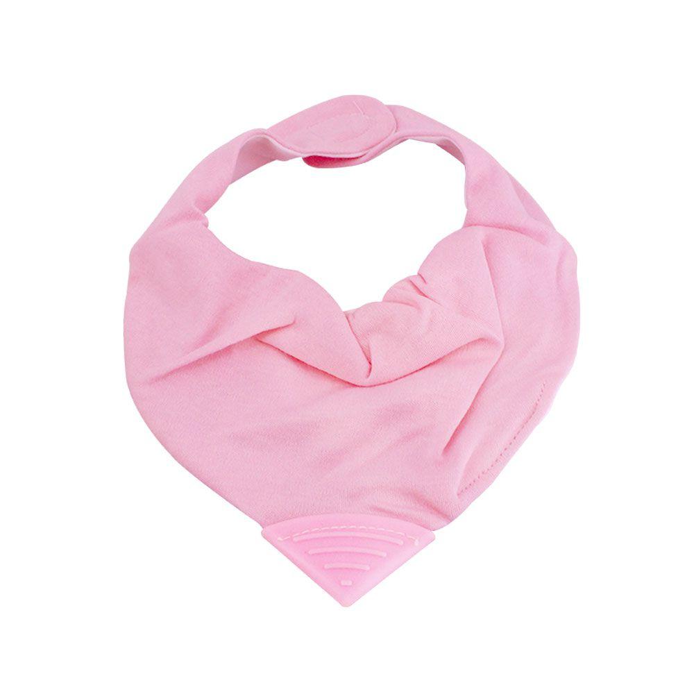 Babador bandana rosa com mordedor