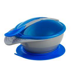 Prato com Ventosa e Colher Colors Azul - Clingo
