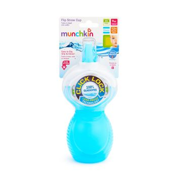 Copo com Canudo Click Lock Azul - Munchkin