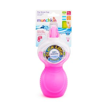 Copo com Canudo Click Lock Rosa - Munchkin