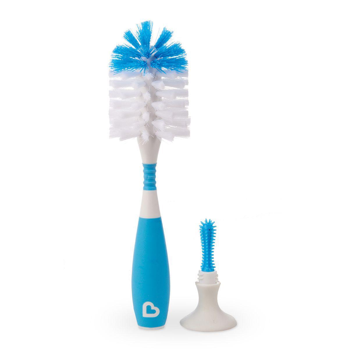Escova e mamadeira com ventosa e cabo flexível Azul - Munchkin