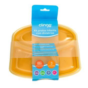 Kit com 3 Pratos com Divisórias - Clingo