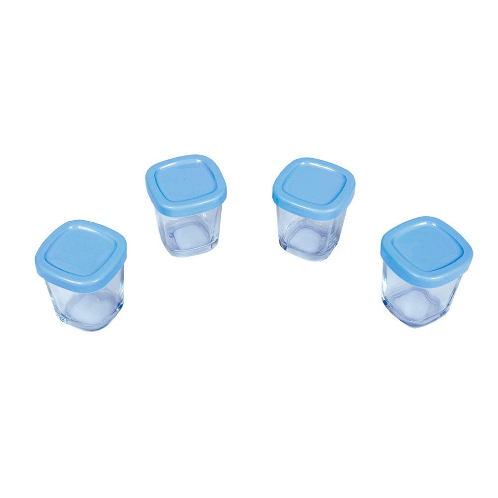 Potes de Vidro para Leite Materno Azul (04 unidades) - Clingo