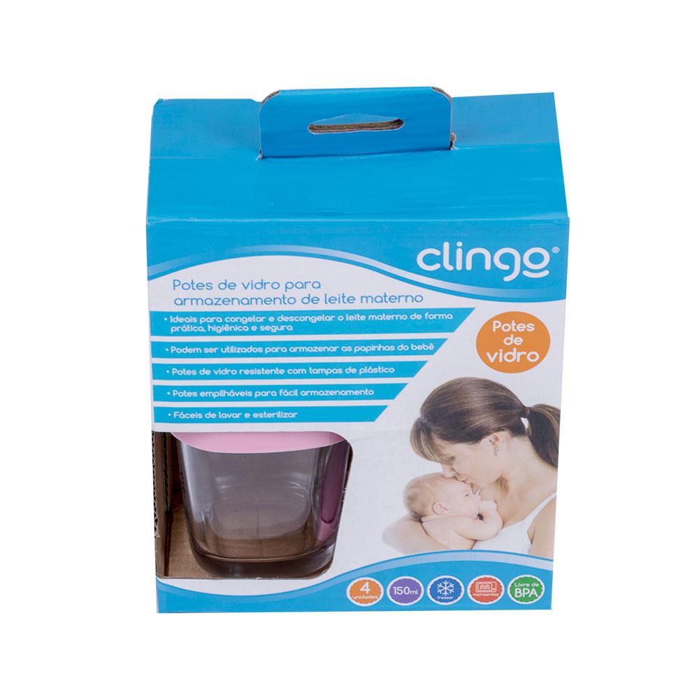 Potes de Vidro para Leite Materno Rosa (04 unidades) - Clingo