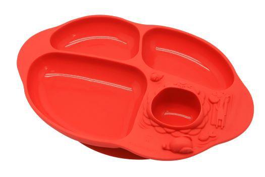 prato com divisória e sucção 4 compartimentos Leão