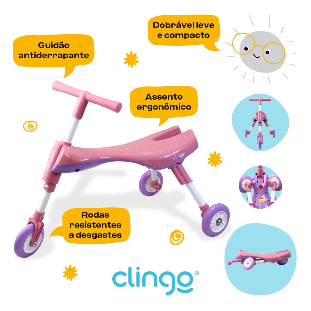 Triciclo Dobrável Rosa e Lilás - Clingo