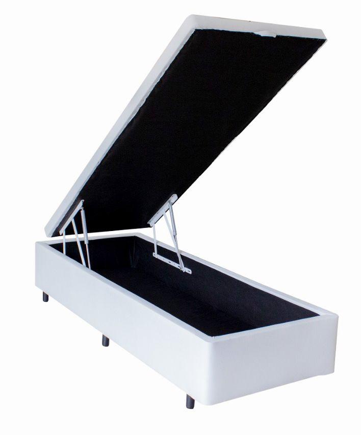 Cama Baú Korino Branco - Solteiro Americano 0,96 x 2,03