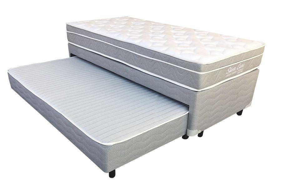 Bicama em Malha Cinza de Espuma + Colchão Mattress One Silver Care - Solteiro 0,88 x 1,88