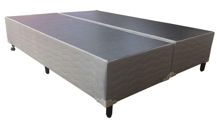 Cama Box Malha Cinza  - Queen Size 1,58 x 1,98 - Bipartido