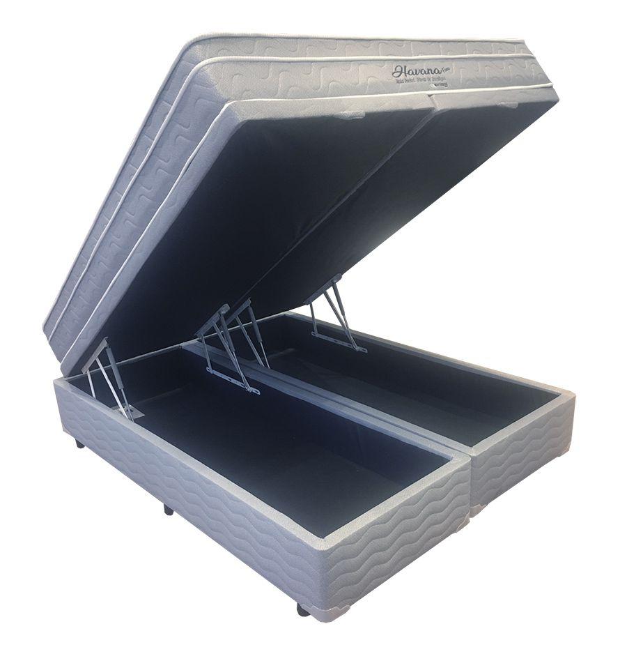 Conjunto Cama Box Baú (Box Baú + Colchão) Mattress One Havana King Size 1,93 x 2,03 - Molas Ensacadas - 25cm - Firme