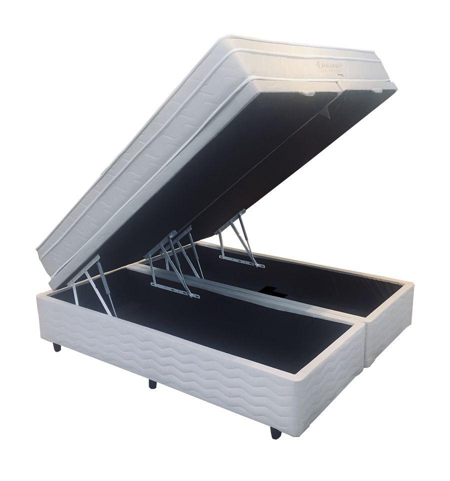 Conjunto Cama Box Baú (Box Baú + Colchão)  Mattress One Denver Queen Size 1,58 x 1,98 - Molas Ensacadas - 25cm - Macio