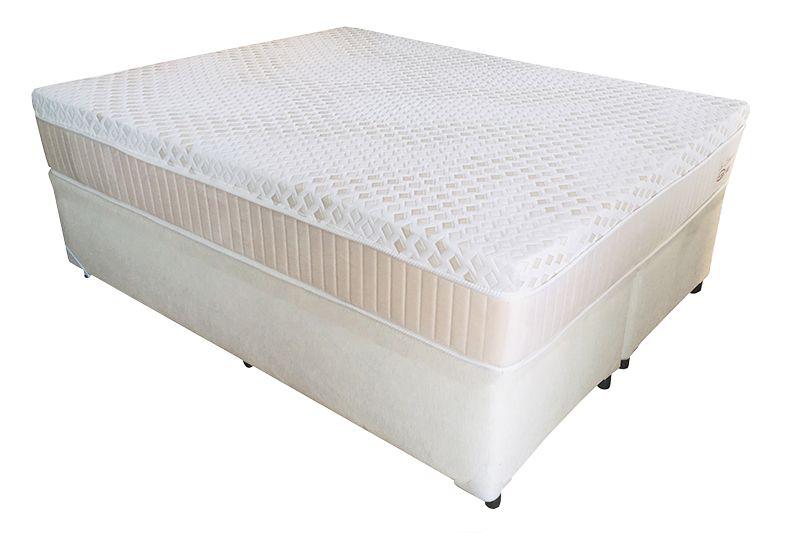 Conjunto (Colchão + Cama) Englander Eco Látex Queen Size 1,58 x 1,98 com 30 cm de altura e conforto firme