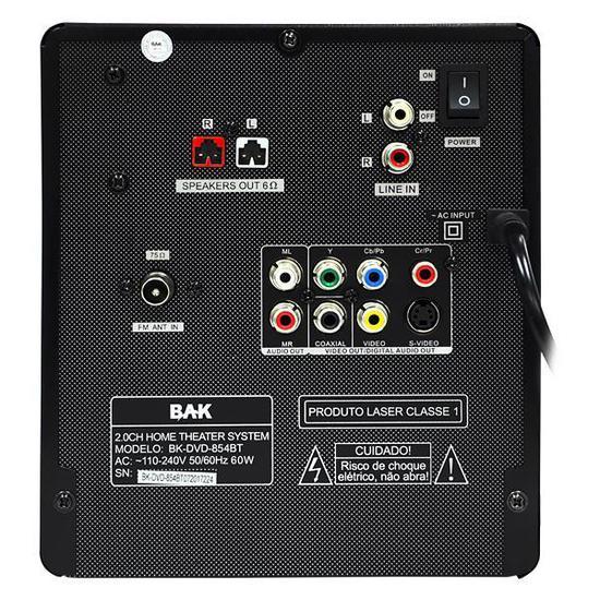 Aparelho de Som BAK BK-DVD-854BT USB / Bluetooth Home Theater