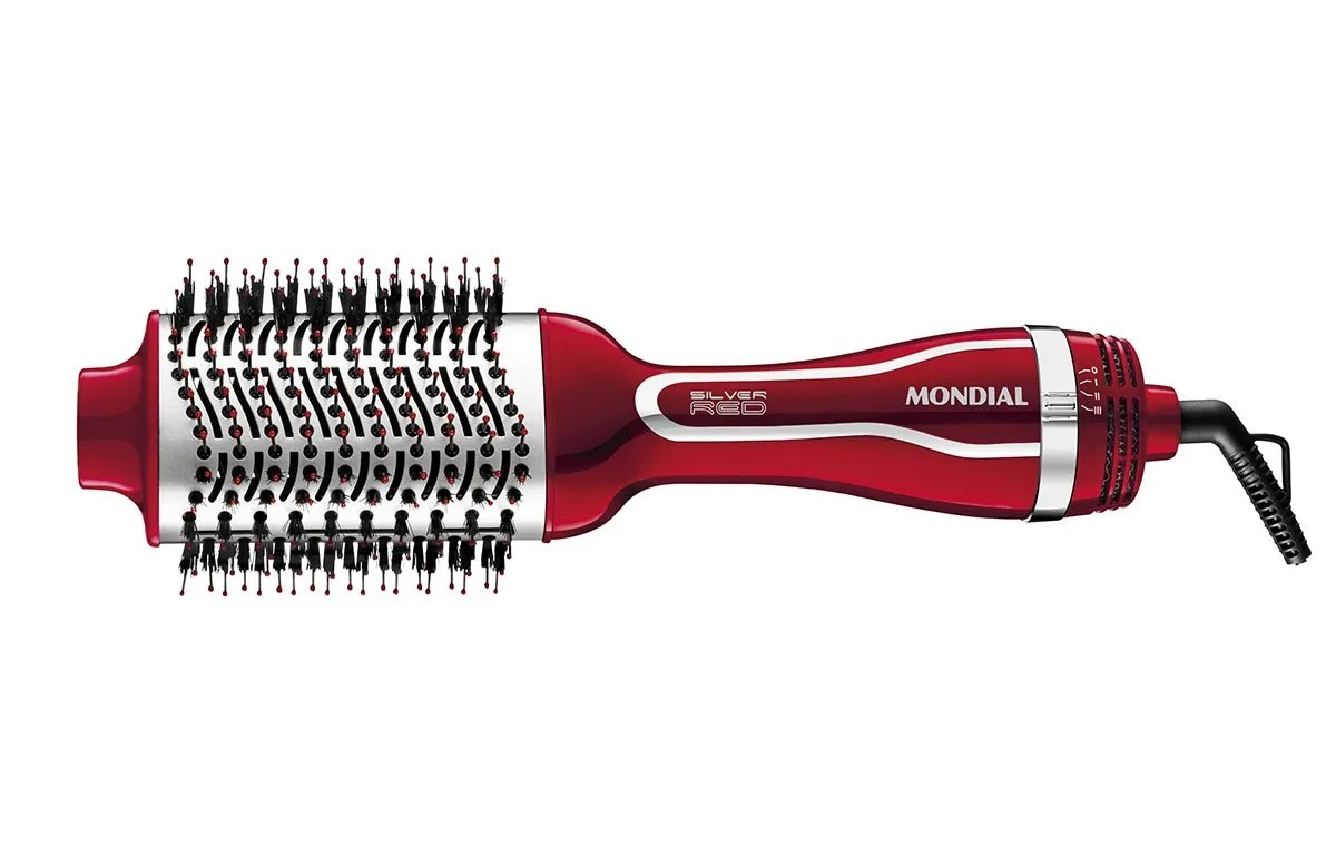 Escova Elétrica Secadora e Alisadora Mondial Silver Red Es-07 220v