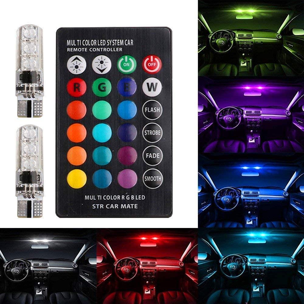 Farol Led 16 Cores Lampada Moto ( Pingo T10) C/controle