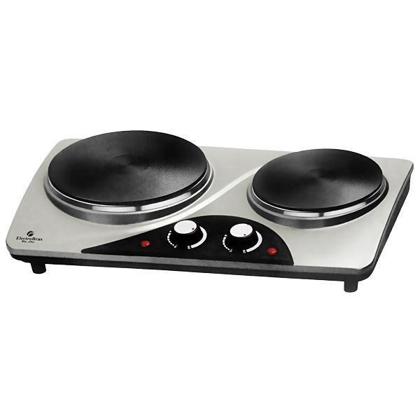 Fogão Fogareiro Portatil  Electrobras Classic Cook Inox EBPE02 900 + 900 W  - Prata/Preto