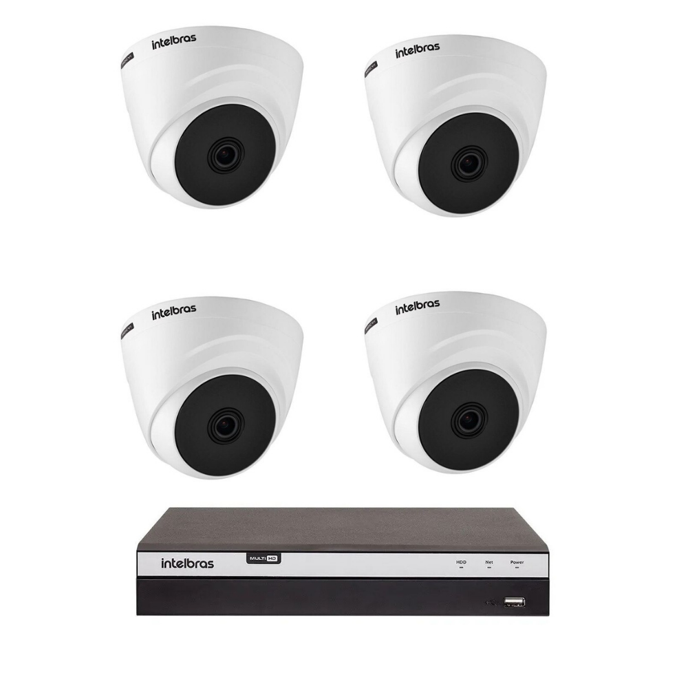 Kit 4 Câmeras Intelbras Dome Vhd 1010 D G5 + Dvr Mhdx 3104