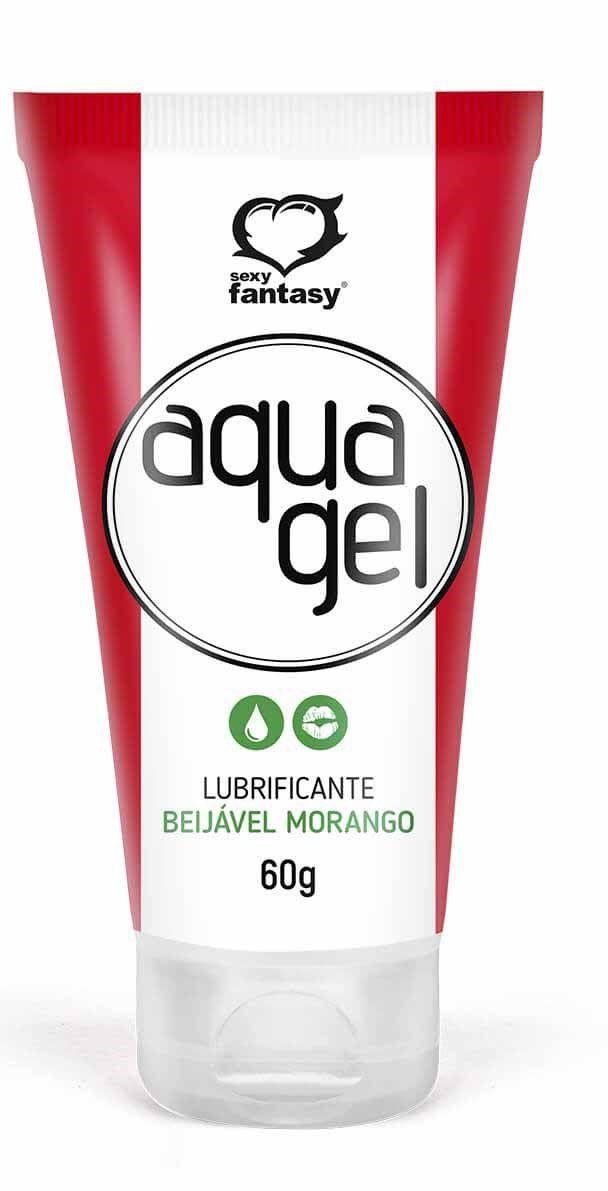 Lubrificante Beijável Aqua  Gel - Morango - SEXY FANTASY