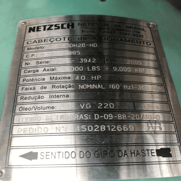 Cabeçote de Acionamento NETZSCH NDH 040 DH 20-HD