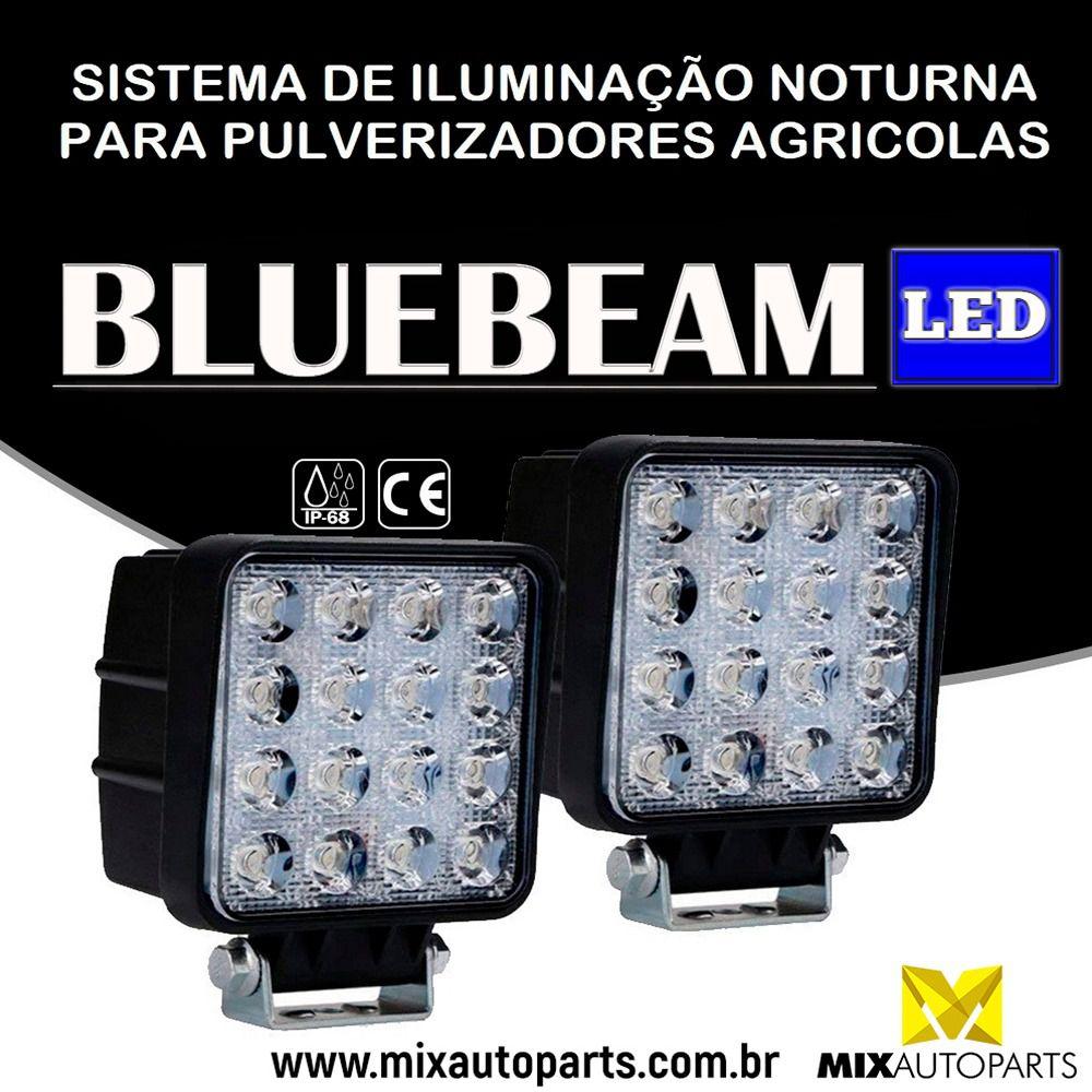 8 UND Farol Led Azul Blue Beam 16 Leds 48w Trilha Pulverizador Agrícola