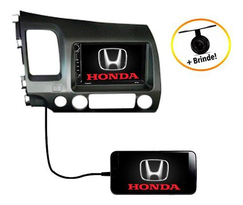 Central Multimídia Honda Civic Dvd 2007 2008 2009 2010 2011 Gps Espelhamento Android Ios Bluetooth