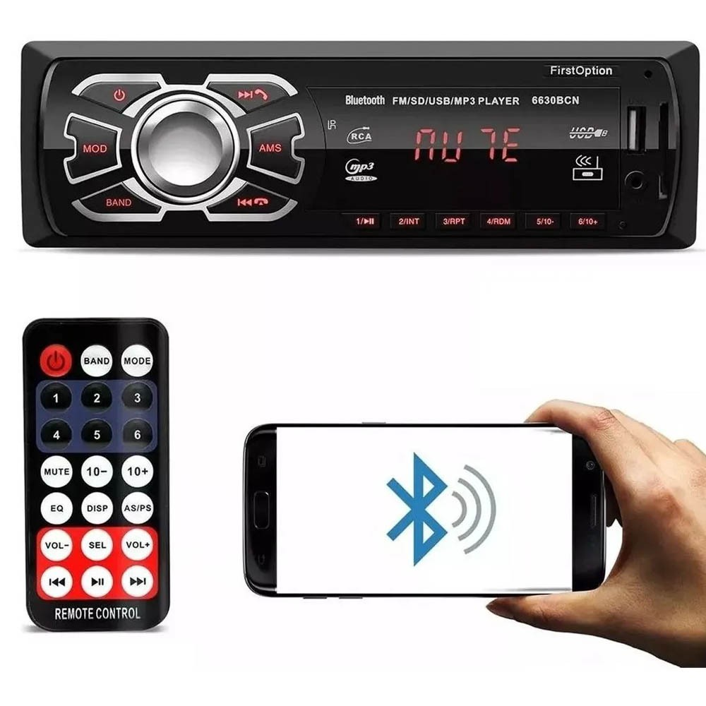 Auto Rádio Automotivo First Option USB Bluetooth MP3 FM SD