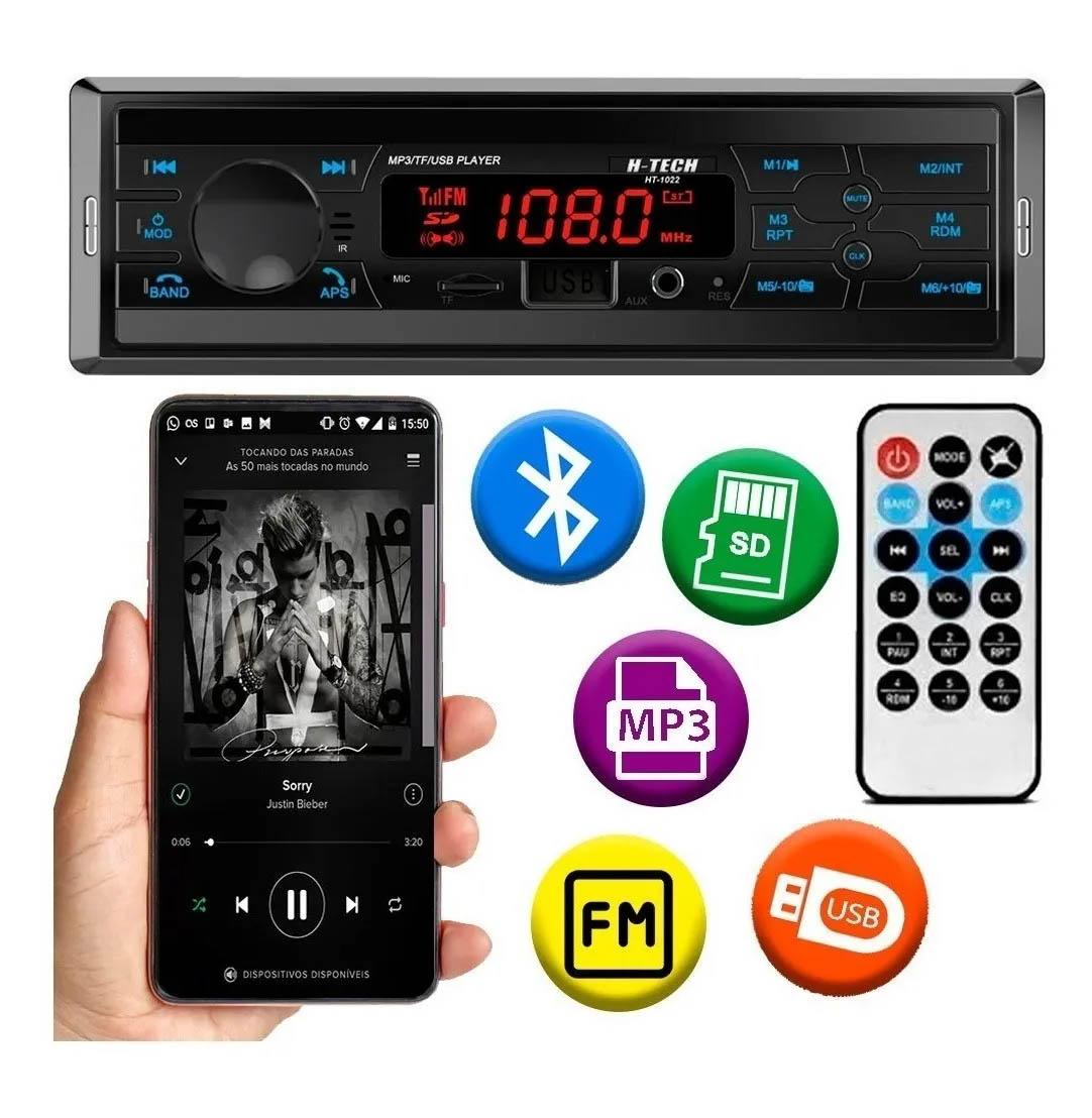 Auto Rádio Automotivo MP3 Bluetooth USB SD MP3 FM Som Carro